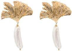 gold-plated leaf and drop pearl earrings