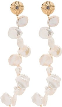 24kt gold-plated sterling silver pearl drop earrings