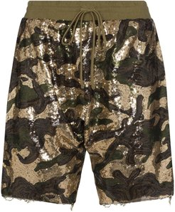 sequinned cotton shorts - Green