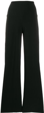 high-waist loose fit trousers - Black