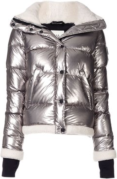 quilted puffer jacket - SILVER