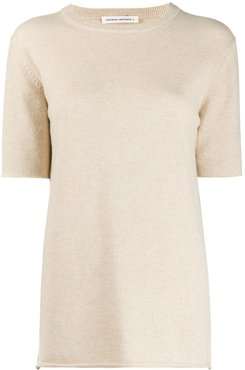 cashmere short-sleeve top - NEUTRALS