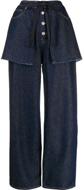 wide-leg layered jeans - Blue