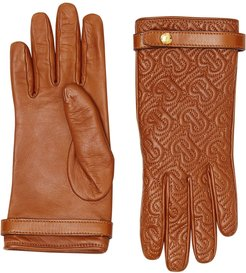 quilted monogram gloves - Brown