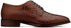 lace up embossed croc-effect loafers - Brown