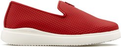 platform micro stud loafers - Red