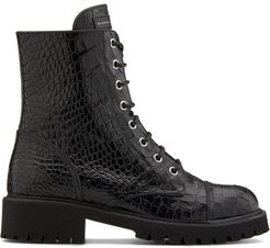 crocodile embossed lace-up boots - Black