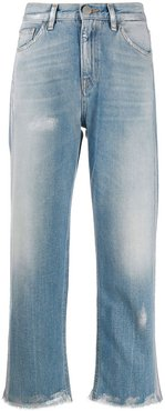high rise cropped jeans - Blue