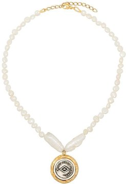 Demi 18K gold-plated pearl coin necklace - White