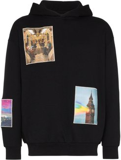 London patch-embroidered hoodie - Black