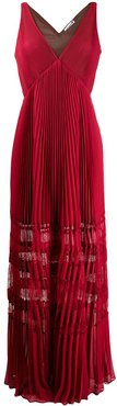 lace-insert pleated maxi dress - Red