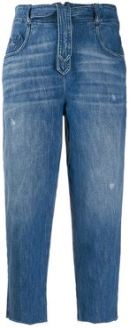 cropped faded jeans - Blue