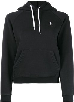 embroidered logo relaxed-fit hoodie - Black