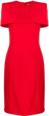cape fitted dress - Red