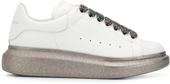 Oversized glitter detail low-top sneakers - White