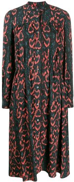 snakeskin print shirt dress - Black