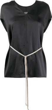 drawstring-waist V-neck blouse - Black