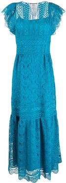 guipure lace maxi dress - Blue
