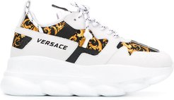Baroque-print low-top sneakers - White