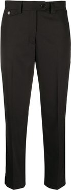 mid-rise tapered trousers - Black