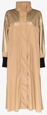 Bronze contrast panel parka coat