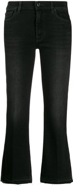 flared cropped jeans - Black