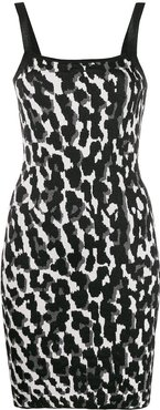 animal-print mini slip dress - Black