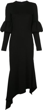 fitted puff sleeved dress - Black