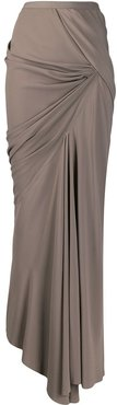 asymmetric maxi skirt - Grey