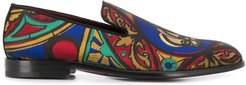 embroidered loafers - Brown