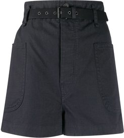 high-waisted belted shorts - Black