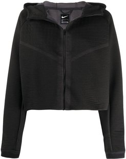 quilted cropped jacket - Black