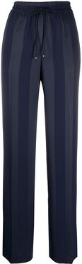striped jacquard wide-leg trousers - Blue