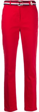 belted straight-leg trousers - Red