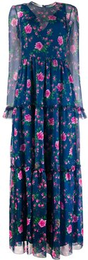 floral-print long dress - Blue