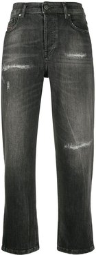 high rise distressed jeans - Grey