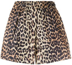 high-waisted leopard print shorts - Brown