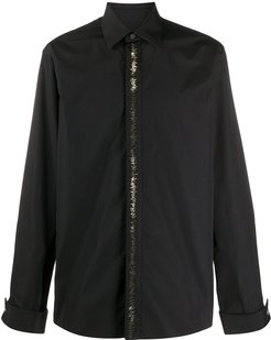 irregular metallic appliqué shirt - Black