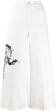 cropped flared high-rise jeans - White