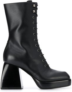 lace-up high heel boots - Black