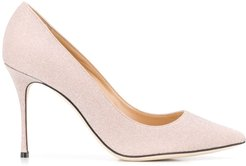 pointed shimmer pumps - PINK