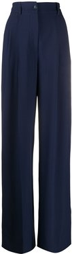 high-rise pleated wide-leg trousers - Blue