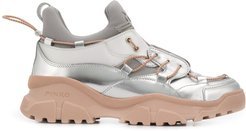 laminated trek sneakers - SILVER