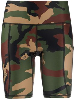camouflage print bicycle shorts - Green