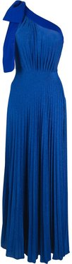 one shoulder maxi dress - Blue
