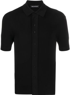 buttoned shortsleeved polo shirt - Black