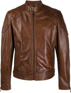 fitted leather jacket - Brown