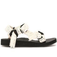 Trekky embroidered flat sandals - Black