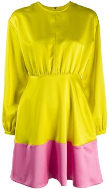 colour-block flared dress - Yellow