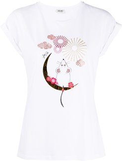 crystal-embellished graphic T-shirt - White